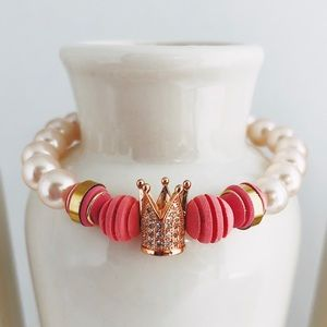 Pink Pearl Queen Beaded Bracelet